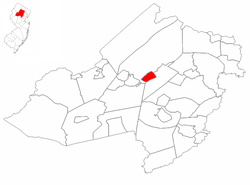 Rockaway highlighted in Morris County. Inset map: Morris County highlighted in the State of New Jersey.
