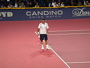 Federer playing in Basel at the Swiss Indoors, 2006.