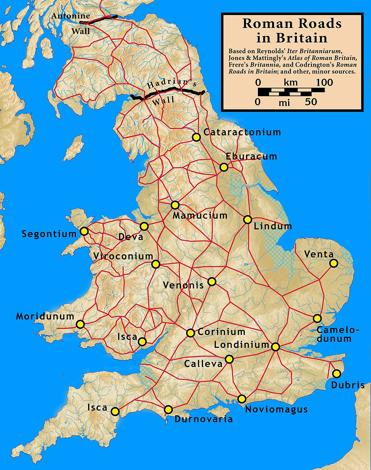 Roman Map Of Britain Roman roads in Britain   Simple English Wikipedia, the free  Roman Map Of Britain