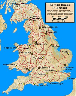 Main Roman roads in the Province of Britannia 43 - 410AD