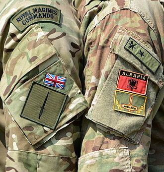 Albanian Land Force - A British Royal Marine posing with an Albanian Commando (right), both showing their shoulder patches