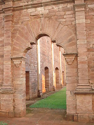 Jesuit Missions of La Santísima Trinidad de Paraná and Jesús de Tavarangue - Access to the temple.