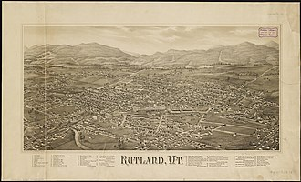 Rutland (town), Vermont - Lithograph of Rutland from 1885 by L. R. Burleigh with list of landmarks