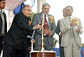 S. Jaipal Reddy lighting the lamp to inaugurate the 138th foundation day of the India Metrological Department (IMD), in New Delhi. The Secretary, Ministry of Earth Science, Dr. Shailesh Nayak and the DGM.jpg