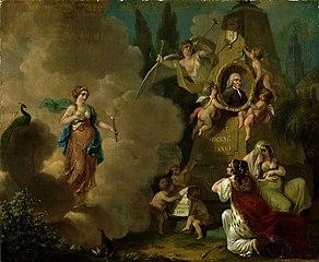 Allegorische voorstelling op het overlijden van Albertus Titsingh (1714-1790)