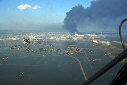 An aerial view o tsunami damage in Tōhoku