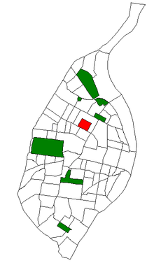 A map of St. Louis neighborhoods with The Ville in red
