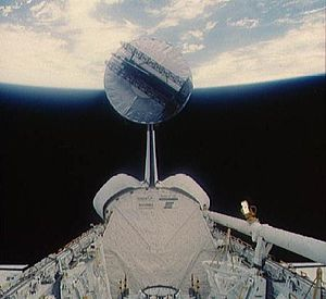 STS-51-A - Image: STS 51 A Syncom IV 1 deployment