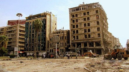 The scene of an October 2012 Aleppo bombings, for which al-Nusra Front claimed responsibility. Saadallah al-Jabiri square, Aleppo, after the explosion of October 2012.jpg