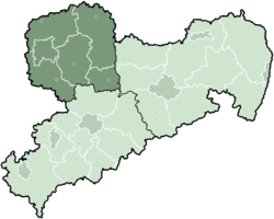 Map of Saxony highlighting the Regierungsbezirk of Leipzig