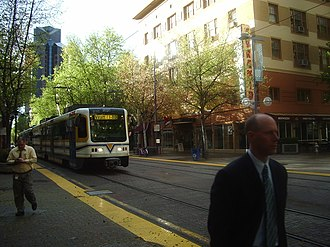 Cathedral Square (Sacramento RT) - Tram passing Cathedral Square, March 27, 2007