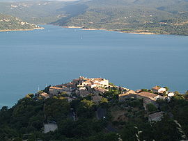 A general view of the village of Sainte-Croix-du-Verdon and the Lake of Sainte-Croix