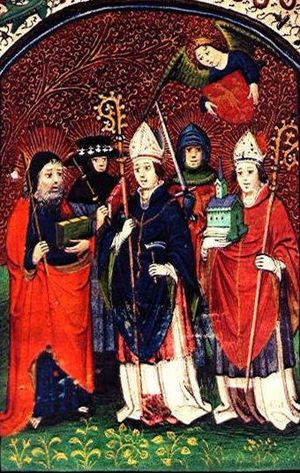 Saint symbolism - Dutch Book of Prayers from the mid-fifteenth century. Group of five saints. From left to right, Saint Joseph, Saint James the Great, Saint Eligius, Saint Hermes, and Saint Ghislain, with their emblems.
