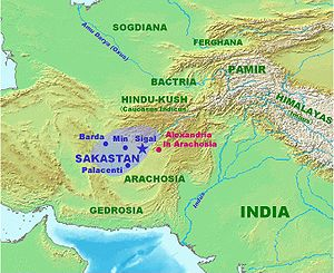 Pamir Mountains - Pamir Mountains on map showing Sakastan about 100BC