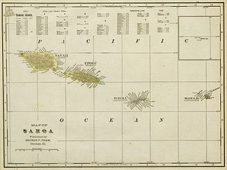 American Samoa - 1896 map of the Samoa Islands.