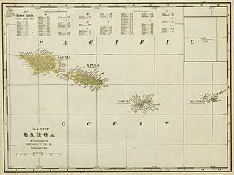 American Samoa - 1896 map of the Samoa Islands.