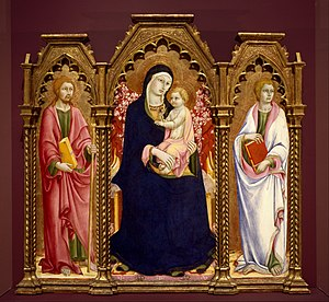 Sano di Pietro - Triptych of Madonna with Child, St. James and St. John the Evangelist. Brooklyn Museum of Art.