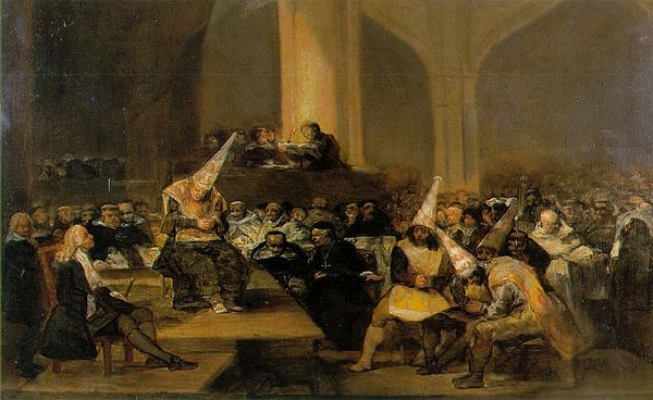 Inquisition Scene by Francisco Goya. The Spanish Inquisition was still in force in the late eighteenth century, but much reduced in power. Scene from an Inquisition by Goya.jpg