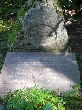 Baden Revolution - Monument at the Kandern Scheideck for General Friedrich von Gagern and the fallen soldiers and revolutionaries