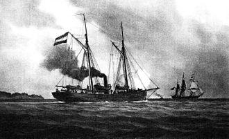 Von der Tann (gunboat) - Von der Tann 1849. Painting by Lüder Arenhold, 1891