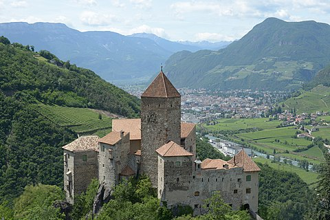 Schloss Karneid with view of the city Bolzano