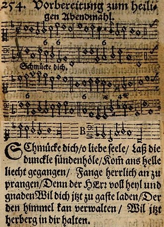 Schmücke dich, o liebe Seele - Hymn tune with figured bass and text of first verse, from Praxis pietatis melica, 1653