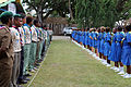 Scouts and girl guides line up for the royal visit at the Commonwealth youth Program office. (10720525484).jpg