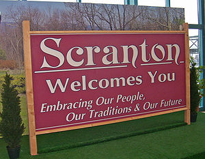 Scranton, PA, USA, welcome sign formerly displ...