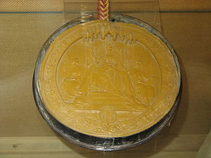 Great Seal of the Realm - Great Seal of the Realm of Queen Victoria attached to the charter incorporating the Dean and Chapter of the Cathedral of Saint Alban, 1900.