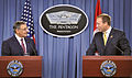 Secretary of Defense Leon E. Panetta, left, listens to Canadian Minister of National Defence Peter MacKay during a joint press conference in the Pentagon Press Briefing Room on Sept 120928-D-NI589-196.jpg