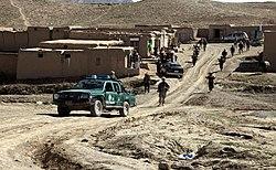 Security patrol in the village of Bakshikhala, Kherwar District, Logar Province, Afghanistan, 12 April 2010.jpg