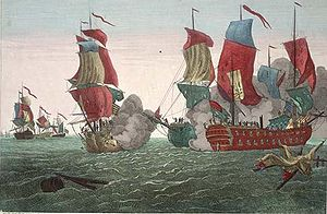Engraving of the famous sea-battle involving J...