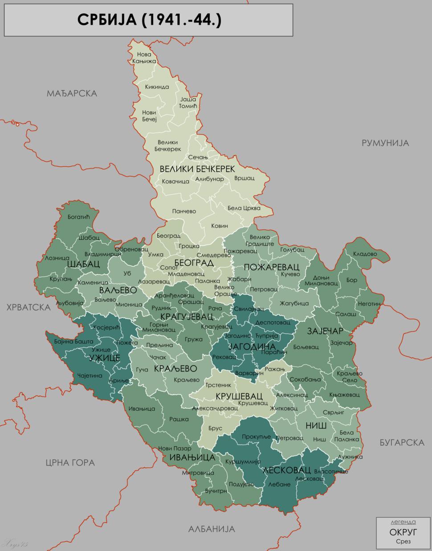 Serbia 1941 44 Map cyr