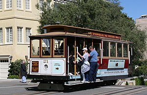 San Francisco cable car system - Powell-Hyde line cable car crossing Lombard Street on Russian Hill