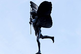 History of aluminium - Statue of Anteros, Greek god of requited love, on Piccadilly Circus in London. This statue was erected in 1893 and is considered the first major work in aluminium.