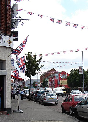 The Twelfth - The Shankill Road decorated with flags and bunting for The Twelfth