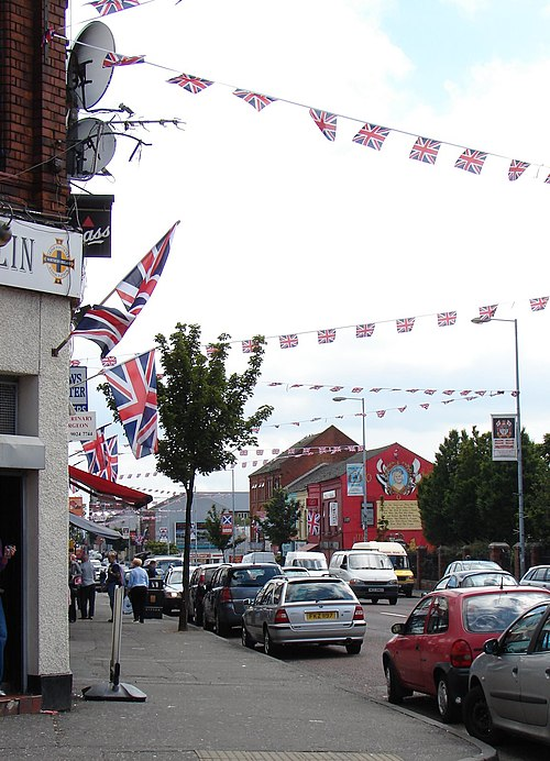 Shankill Road decorated with flags and bunting for The Twelfth Shankill july.JPG