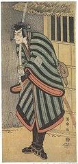 Ichikawa Komazō III as the monk Saihō no Mida Jirō, actually Sagami Jirō Tokiyuki