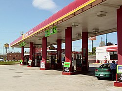 Canopy over the gas pumps at the Sheetz store in Breezewood, Pennsylvania.