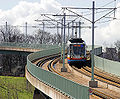 Sheffield Supertram descending the viaduct from Park Grange Croft - geograph.org.uk - 150559.jpg