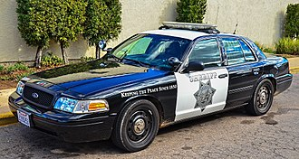 San Diego County Sheriff's Department - Black-and-white second generation Ford Crown Victoria Police Interceptor in 2015