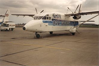 AirUK - A pair of Air UK Shorts 360s in the second scheme at Humberside Airport in 1989.