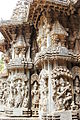 Shrine wall relief sculpture follows a stellate plan in the Chennakeshava temple at Somanathapura.JPG