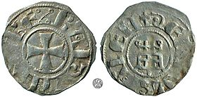 Silver denier of Baldwin III of Jerusalem.jpg