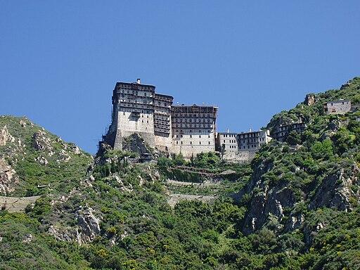 Berg Athos: Blick auf Kloster Simonos Petras (UNESCO-Welterbe in Griechenland)