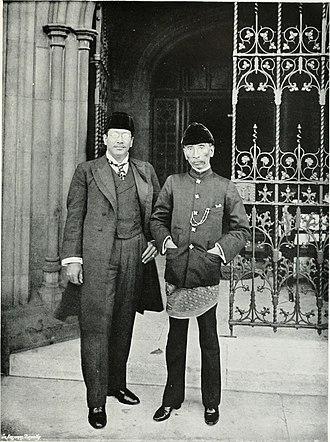 Idris Shah I of Perak - Sultan Idris Shah I (right), accompanied by Raja Chulan (left) at the Houses of Parliament, London, 1906.