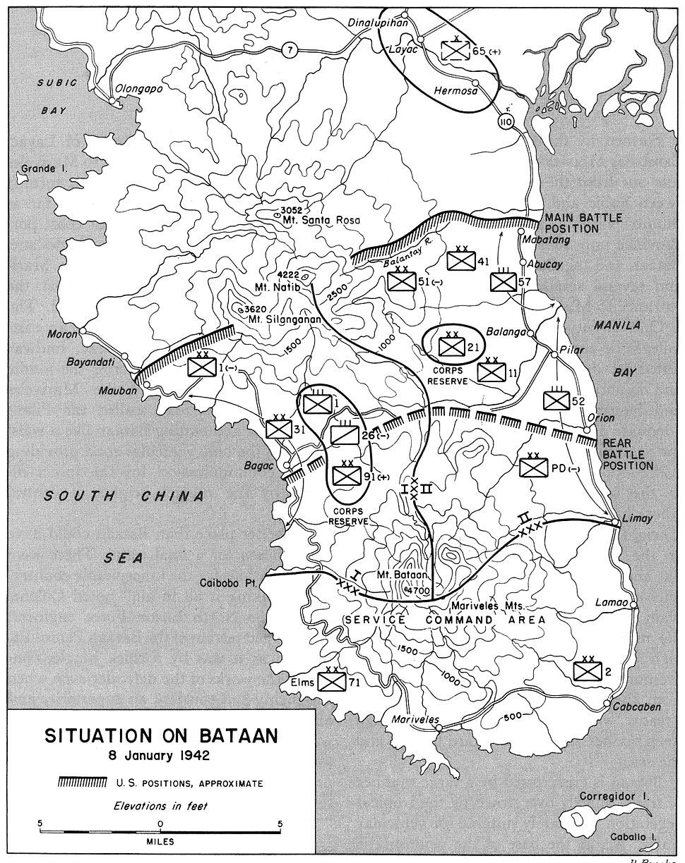 Situation on Bataan 8 Jan 1942