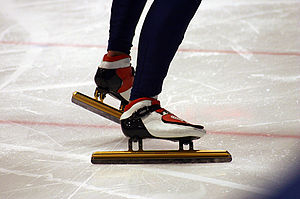 A skate as used in short track speed skating