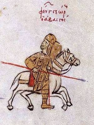 Byzantine–Georgian wars - A cropped picture of George I, King of Georgians on horseback during his confrontation with Emperor Basil of Byzantine