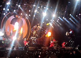 Several members of Slipknot performing onstage